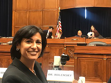 MGH Research Scholar Rochelle Walensky, MD, MPH, recently testified before Congress about the high cost of a drug that can reduce the risk of contracting HIV.